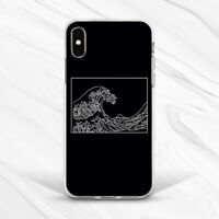 Aesthetic Black White Kanagawa Wave Case For iPhone 6 7 8 Xs XR 11 Pro Plus Max