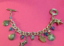 VINTAGE STERLING SILVER 925 MERMAID CHARM BRACELET WITH CUTE CHARMS