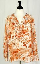 Talbots 16W Blouse Top Floral Buttons Ruffles Orange Cream Long Sleeve