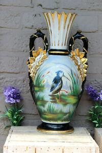 Antique vieux paris porcelain Vase bird hand paint scene 19th century