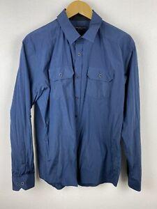Jonathan Adams Military Mens Shirt Size L Long Sleeve Button Up Regular Fit Blue