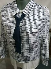 Vtg ladies Sz 20 / Xl button up polyester blouse & tie by Cricket Lane