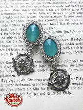 12mm Paar Handmade Silber Türkis mit Wind Rose Maritim  DANGLE PLUGS / TUNNEL