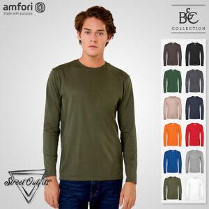 Mens Long Sleeve T-Shirt Soft Cotton B&C 150 Crew Neck Top Quality Ringspun Tee