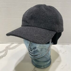 Barneys New York Gray Lined Wool Ear Flap Hat Cap Sz Med/Large