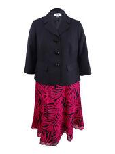 Le Suit Women's Plus Size Floral-Print Skirt Suit (14W, Black/Deep Rose Multi)