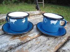 Lot de 2 Tasses éaillées expresso animaux bleues émail Véritable Fab France Neuf
