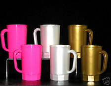 9 Beer Mugs/Steins 3 each, Pink, Gold, Pearl White, Made in America Lead Free*