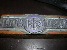 Vintage Wood Block Printing Metal PRINTERS Stamp TIRES INC Rare & Unusual