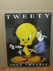 Vintage Looney tunes character tweety 100% twrouble 1998  poster 2332
