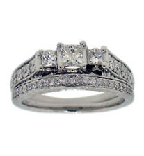 1.00ct Princess and Round G-H Prong Setting