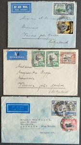 KENYA - UGANDA - TANGANIYKA 1935-38: 3 Covers to Versoix, Switzerland