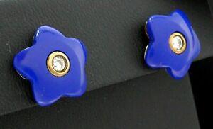Ohrringe 333 GOLD 8 Karat Gelbgold boucle Blumen Blume Lapislazuli earrings