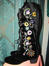 Free People by Jeffrey Campbell  black velvet boots size 11