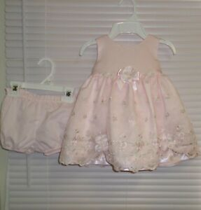 Bonnie Baby PINK Satin Party Dress Embroidery Pearls Accent Size 6-9m