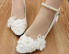 Decolté decolte scarpe donna ballerina bianco blu perle sposa 3.5, 4.5 8 11 9341