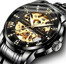 Men's Watch Black Mechanical Stainless Steel Skeleton Waterproof Automatic Roman