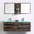 "Modern Bathroom Vanity Set Wall Mount-Double Glass Sink and Mirror-55"""