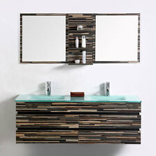 Modern Bathroom Vanity Set Wall Mount-Double Glass Sink and Mirror-55""