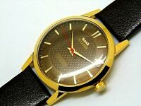 hmt sona hand winding men gold plated brown dial 17 jewel vintage india watch