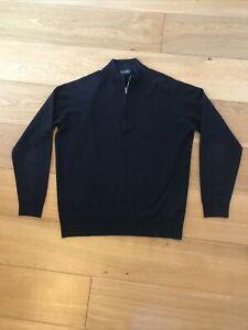 John Smedley Navy 1/4 Zip Cardigan Size L