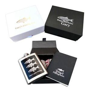 Personalised Fishing gift box socks, notebook, hip flask fisherman christmas box