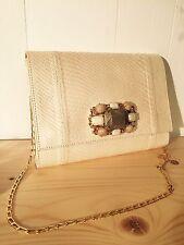 CARLOS FALCHI  *New* Genuine Snake~ BUTTER Color~ Use As Clutch/Shoulder Bag