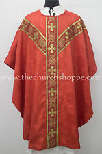 Red Gothic vestment & 5 PC mass and stole set,Gothic chasuble,casula,casel ,IHS