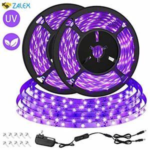 CLY 33ft LED UV Black Light Strip Kit, 600 Units UV Lamp Beads, 12V Flexible Bla