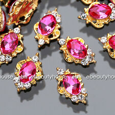 10 Pcs Nail Art HOT PINK Alloy Jewelry Rhinestone Decorations Accessories #E1128