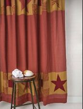 Country Patchwork Cotton Fabric Shower Curtain Burgundy Red Tan Ninepatch Star