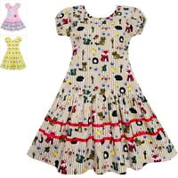 Sunny Fashion Girls Dress Fox Squirrel Bird Mushroom Print Striped Size 7-14