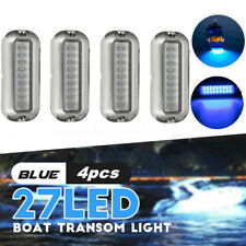 "4 Pcs 3.5"" Marine/Boat 27 Blue LED 50W Underwater Pontoon Boat Transom Lights"