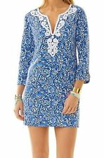 $228 Lilly Pulitzer Julianna Indigi Chasing Tail Tunic Embroidered Dress SMALL