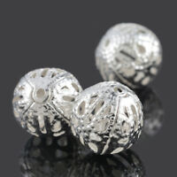 150 Versilbert Filigran Ball Perlen Beads 12mm L/P