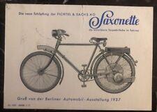 1937 Landshut Germany Saxonette Motor Bike Postcard Cover To Berlin