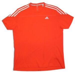 Adidas Response Shirt Mens Large Running Short Sleeve Orange Climalite Tee