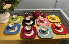 Vtg Victoria China Czechoslovakia 27 Pc Plate Tea Cup Saucer Creamer Pot Sugar