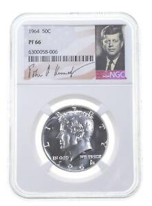 1964 PF66 Proof Kennedy Half Dollar NGC Graded - White Coin Spot Free PR *0203