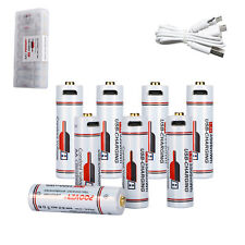 8 * Rechargeable AA Batteries Lithium 1.5v USB Charging 3500mWh LR6 Battery +Box