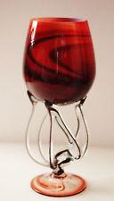 "LARGE Krosno Art Glass Pedestal Bowl Made in Poland in Dark Red 11"" Tall (28 cm)"