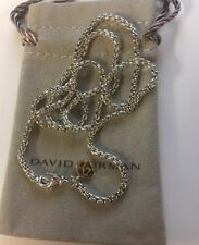 David Yurman 2.7mm Sterling Silver 925 Box Chain Necklace 14k tag 22''