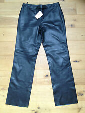 BNWT Ladies Queenspark Designer Black Leather Trousers @ Size 14 NEW Pants
