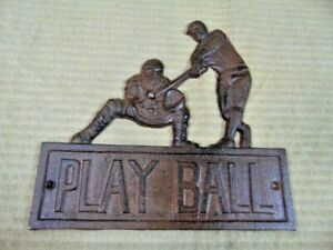 Baseball PLAY BALL Cast Iron Plaque Sign Batter Catcher Rustic Brown player