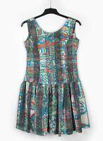 1990s Vintage (UK 12 14) Tribal Ethnic Cotton Print Dress Sun Dress Grunge Rara