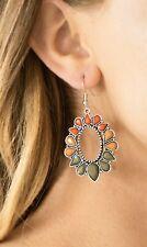 Fashionista Flavor Multi. Orange Meerkat & Olive Teardrop Earrings New