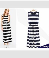 Stripe Drawstring  Navy Blue Dress#A658