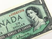 1954 Canada One 1 Dollar Beattie Rasminsky Circulated Replacement Banknote Q969