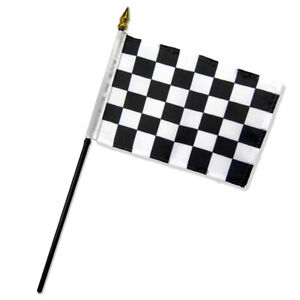 """Black & White Checkered Flag 4x6in Stick Flag Small Handheld Racing Flag 4"""" x 6"""""""