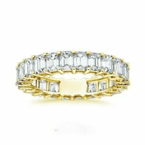 Emerald Cut 2.40 Ct Diamond 14k Yellow Gold Over Ring Engagement Band Set